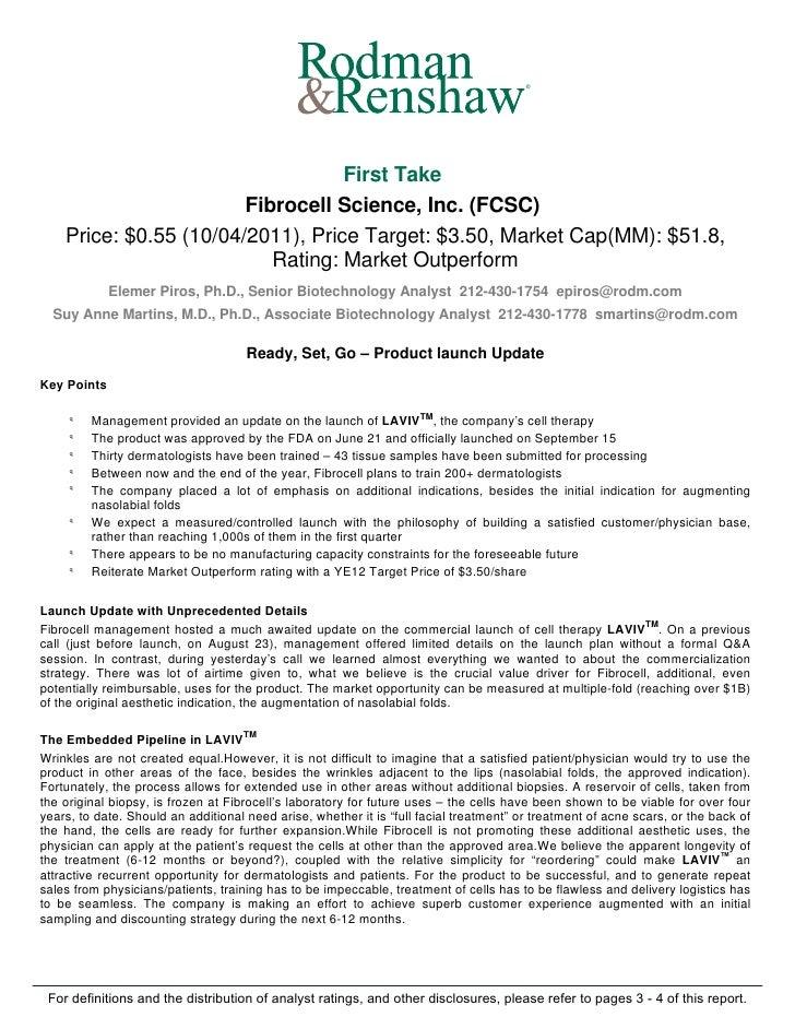 Fibrocell Science ($FCSC) Rodman & Renshaw update October 2011