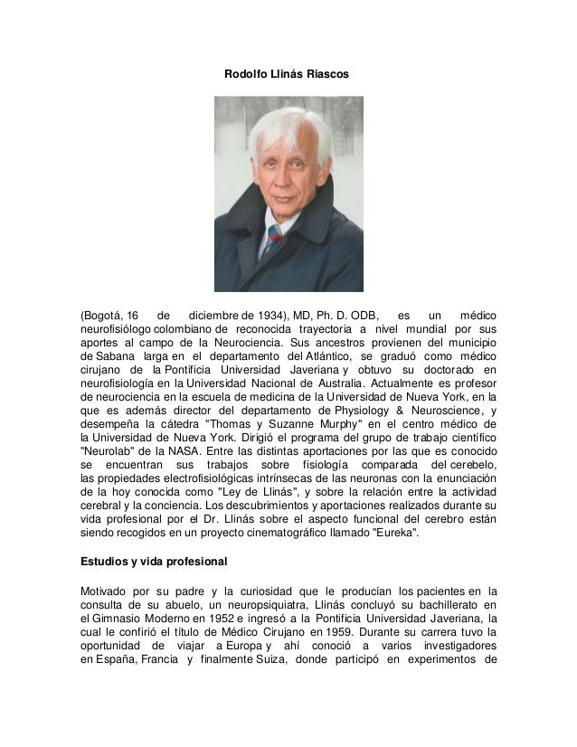 Rodolfo Llinas Biography Rodolfo Llin s Riascos