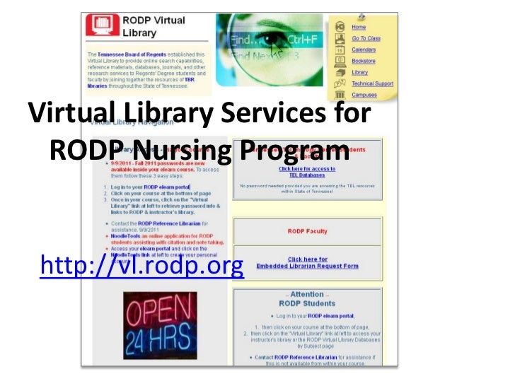 Virtual Library Services for RODP Nursing Programhttp://vl.rodp.org