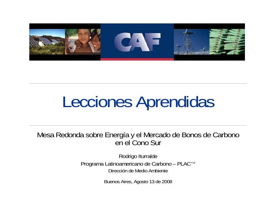Lecciones Aprendidas Mesa Redonda sobre Energía y el Mercado de Bonos de Carbono                       en el Cono Sur     ...
