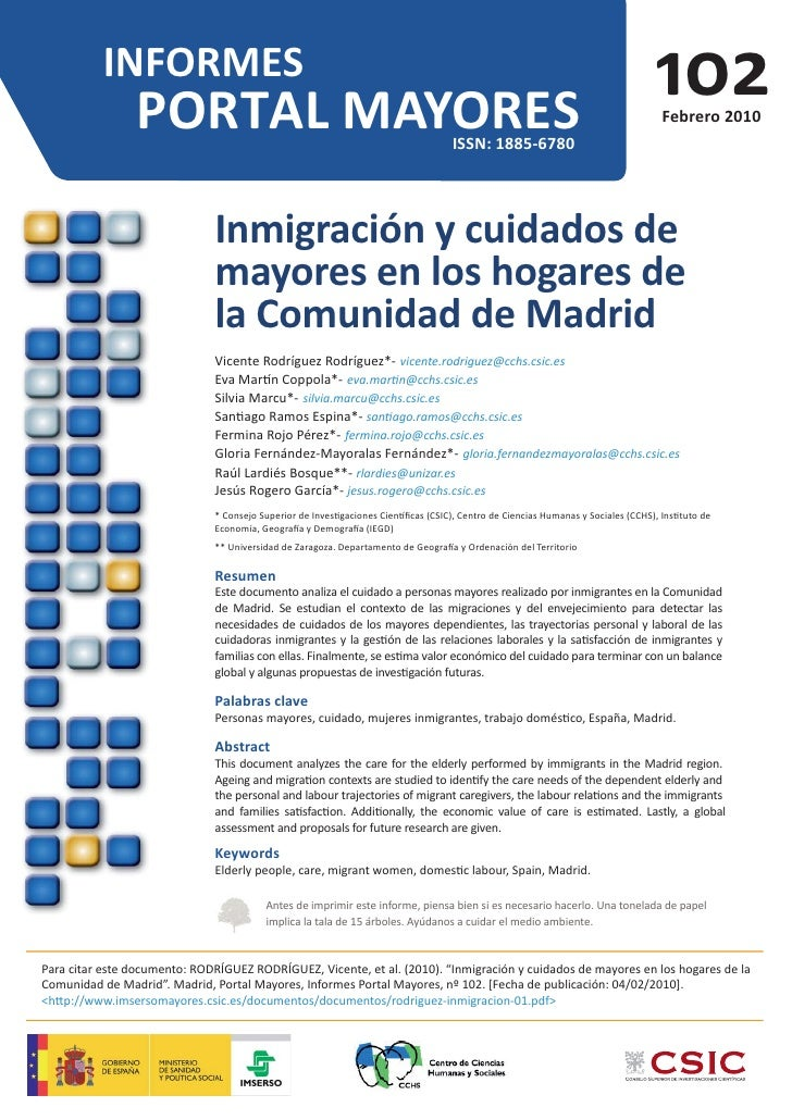 Inmigraci n y cuidados de mayores en los hogares de la for Correo comunidad de madrid