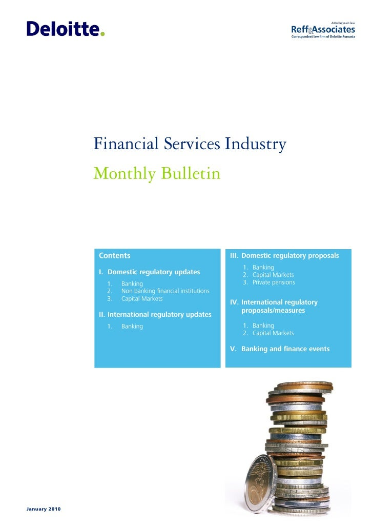 Jan 2010 Financial Services Industry Monthly Bulletin