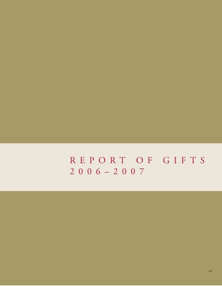 Report of Gifts 06-07