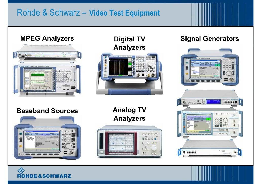 Rohde & Schwarz – Video Test Equipment  MPEG Analyzers           Digital TV      Signal Generators                        ...