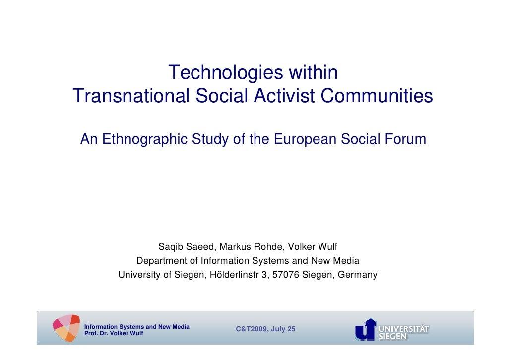 Rohde Transnational Social Activist Communities
