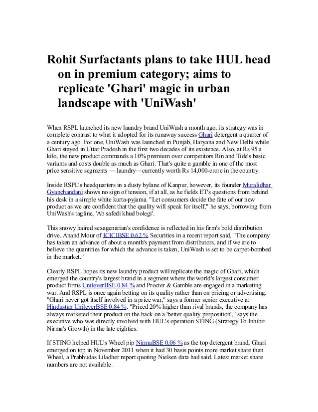 Rohit Surfactants plans to take HUL head on in premium category; aims to replicate 'Ghari' magic in urban landscape with '...