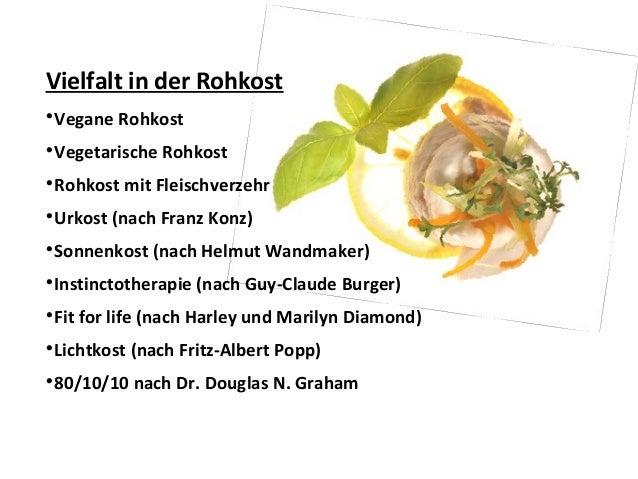 Vielfalt in der Rohkost  Vegane Rohkost  Vegetarische Rohkost  Rohkost mit Fleischverzehr  Urkost (nach Franz Konz)  ...