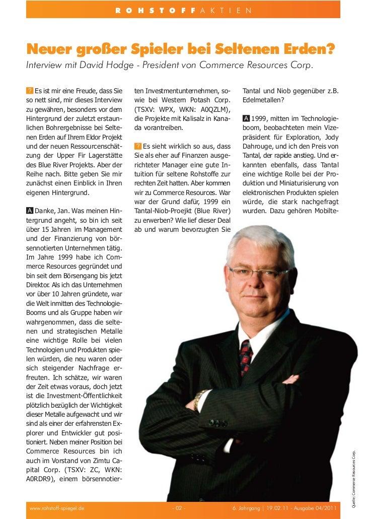 R O H S T O F F A K T I E NNeuer großer Spieler bei Seltenen Erden?Interview mit David Hodge - President von Commerce Reso...