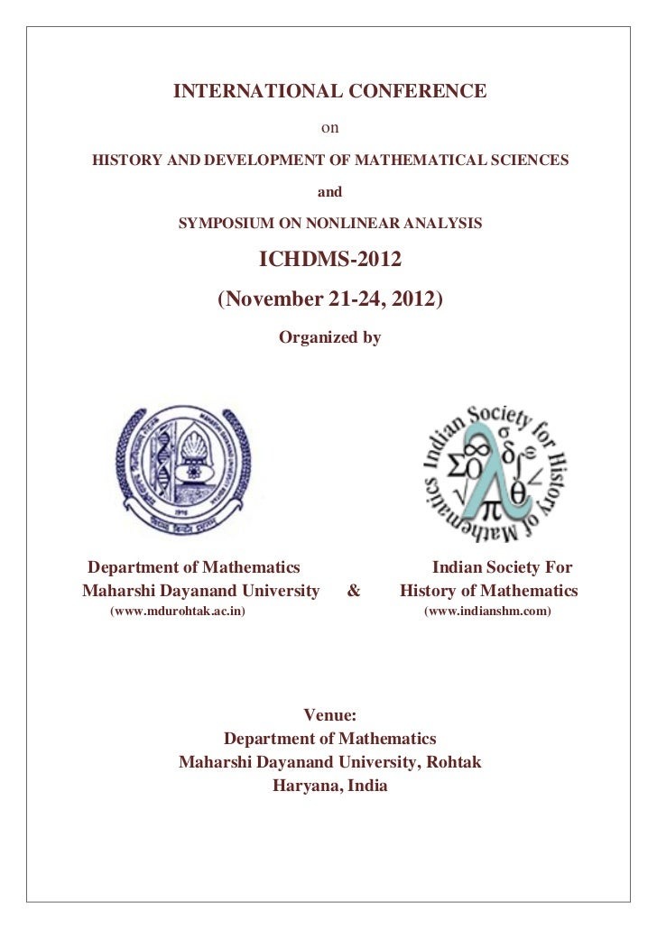 INTERNATIONAL CONFERENCE                                on HISTORY AND DEVELOPMENT OF MATHEMATICAL SCIENCES               ...