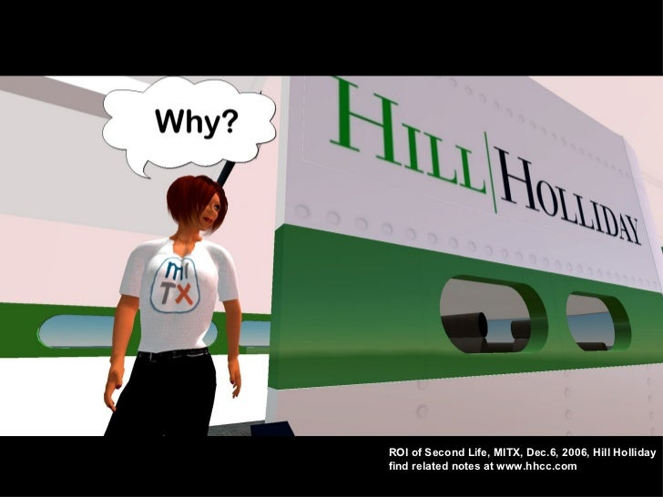 ROI of Second Life, MITX, Dec.6, 2006, Hill Holliday find related notes at www.hhcc.com