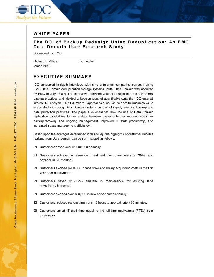 ROI of Back Up Redesign – IDC White Paper
