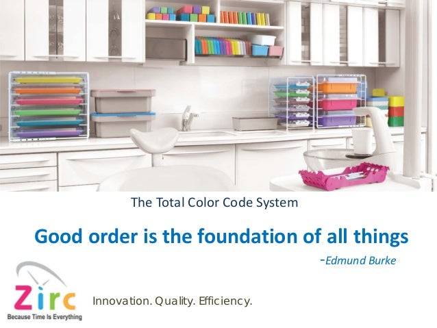 The Total Color Code System Good order is the foundation of all things -Edmund Burke Innovation. Quality. Efficiency.