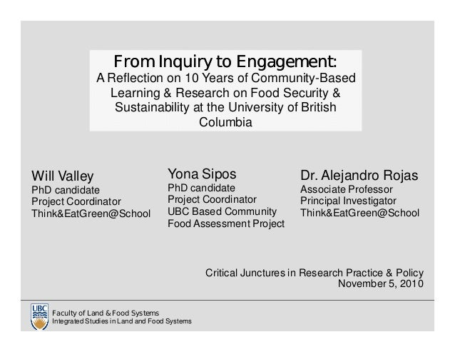 Critical Junctures in Research Practice & Policy November 5, 2010 Faculty of Land & Food Systems Integrated Studies in Lan...