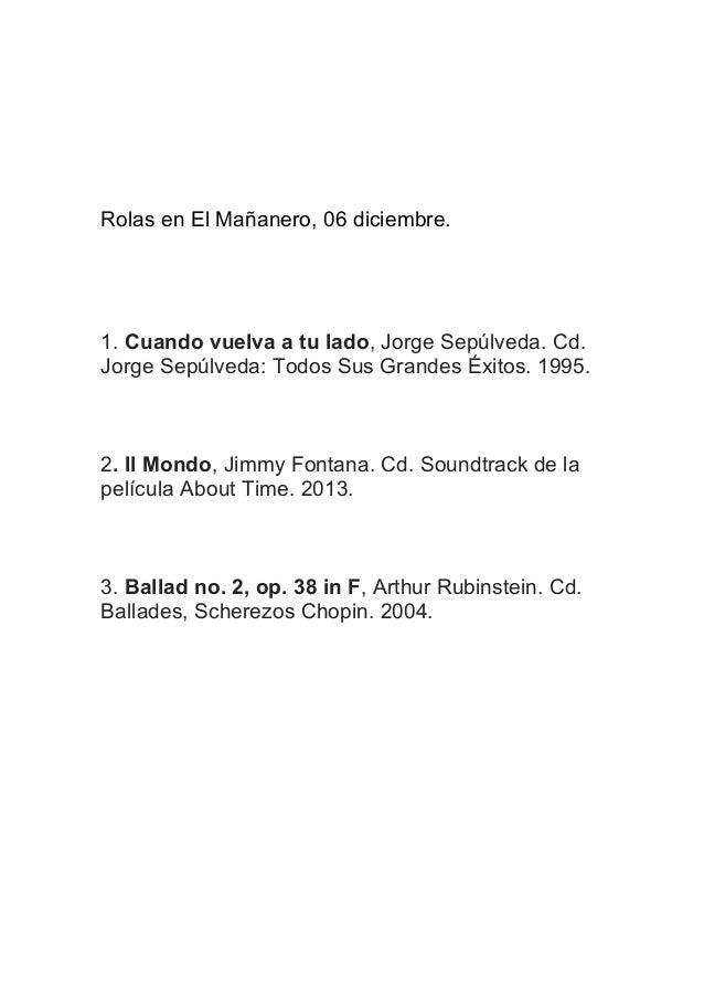 Rolas en El Mañanero, 06 diciembre.  1. Cuando vuelva a tu lado, Jorge Sepúlveda. Cd. Jorge Sepúlveda: Todos Sus Grandes É...