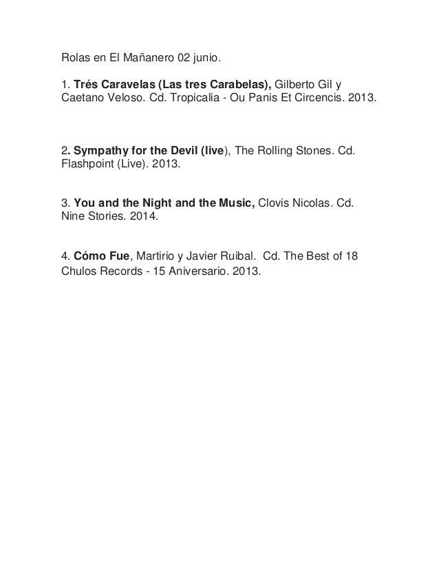 Rolas en El Mañanero 02 junio. 1. Trés Caravelas (Las tres Carabelas), Gilberto Gil y Caetano Veloso. Cd. Tropicalia - Ou ...