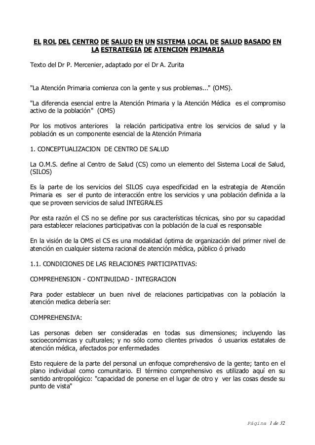 Página 1 de 32 EL ROL DEL CENTRO DE SALUD EN UN SISTEMA LOCAL DE SALUD BASADO EN LA ESTRATEGIA DE ATENCION PRIMARIA Texto ...