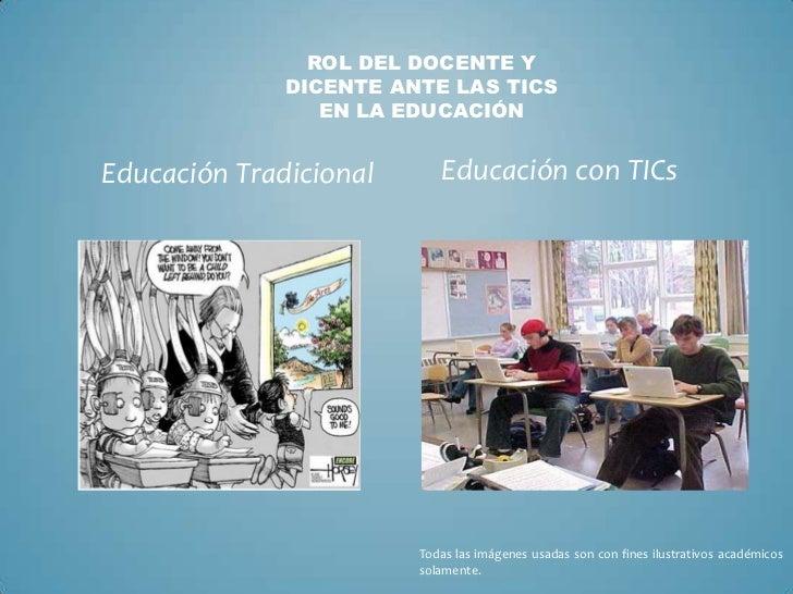 ROL DEL DOCENTE Y              DICENTE ANTE LAS TICS                 EN LA EDUCACIÓNEducación Tradicional      Educación c...