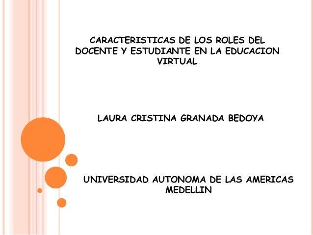 CARACTERISTICAS DE LOS ROLES DEL  DOCENTE Y ESTUDIANTE EN LA EDUCACION  VIRTUAL  LAURA CRISTINA GRANADA BEDOYA  UNIVERSIDA...