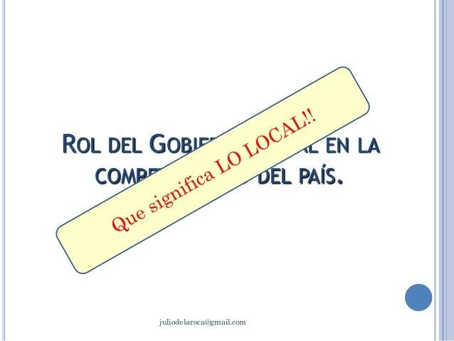 ROL DEL GOBIERNO LOCAL EN LA COMPETITIVIDAD DEL TERRITORIO. Lic. Julio de La Roca