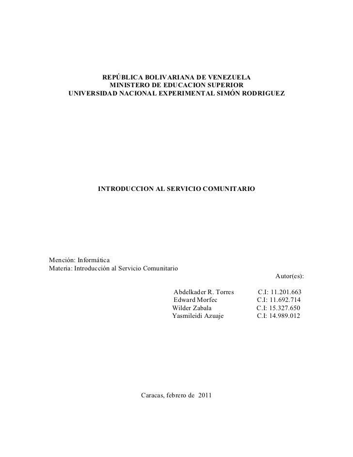 REPÚBLICA BOLIVARIANA DE VENEZUELA                MINISTERO DE EDUCACION SUPERIOR      UNIVERSIDAD NACIONAL EXPERIMENTAL S...