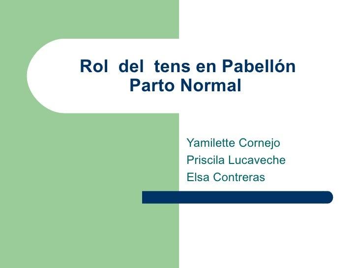 Rol del tens en Pabellón     Parto Normal           Yamilette Cornejo           Priscila Lucaveche           Elsa Contreras