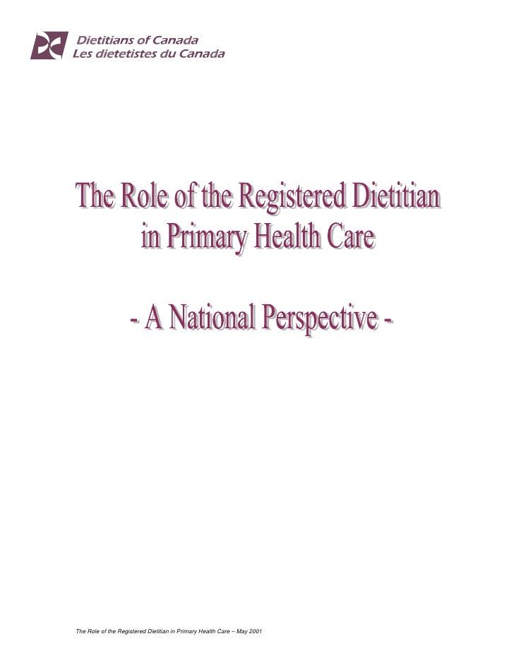 The Role of the Registered Dietitian in Primary Health Care – May 2001
