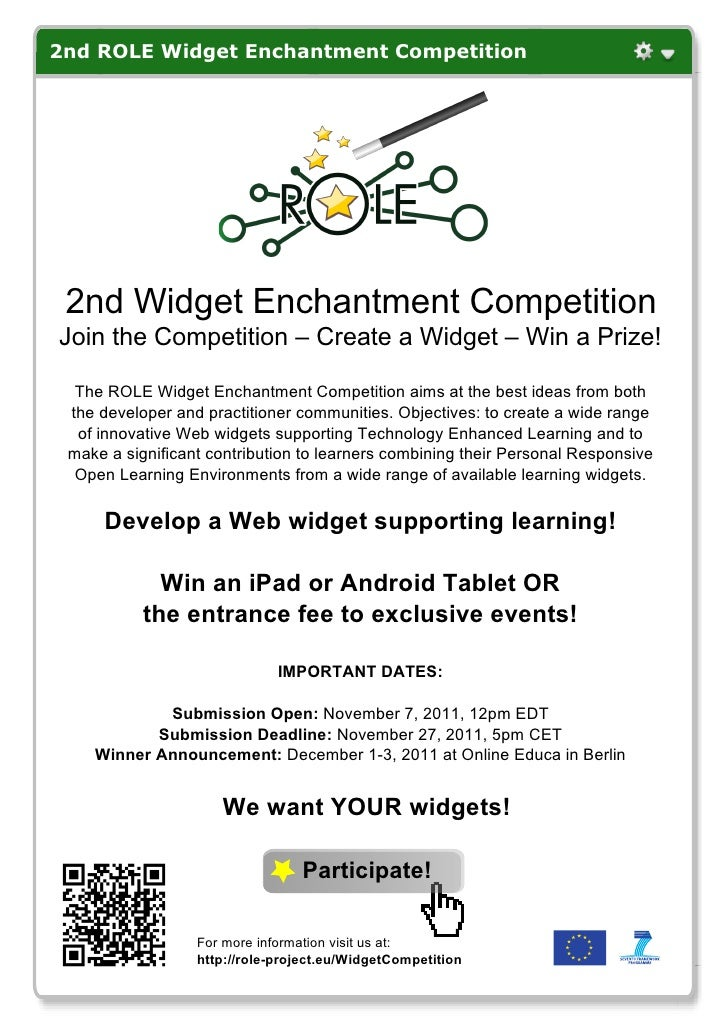 2nd ROLE Widget Enchantment Competition 2nd Widget Enchantment CompetitionJoin the Competition – Create a Widget – Win a P...