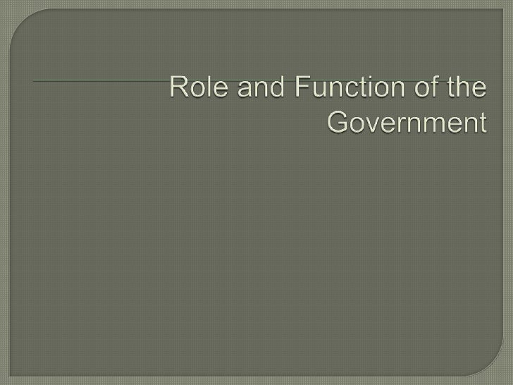 Role And Function Of The Government