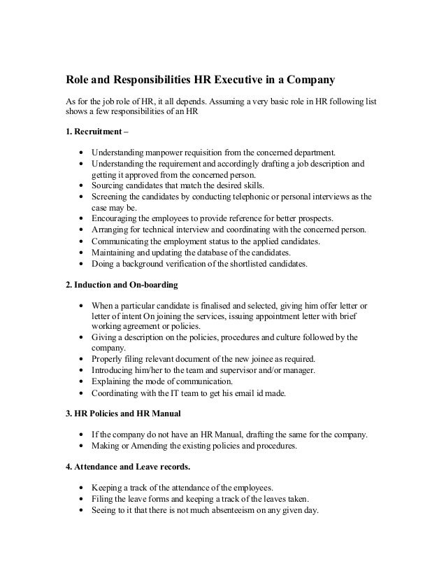 Role and Responsibilities HR Executive in a Company