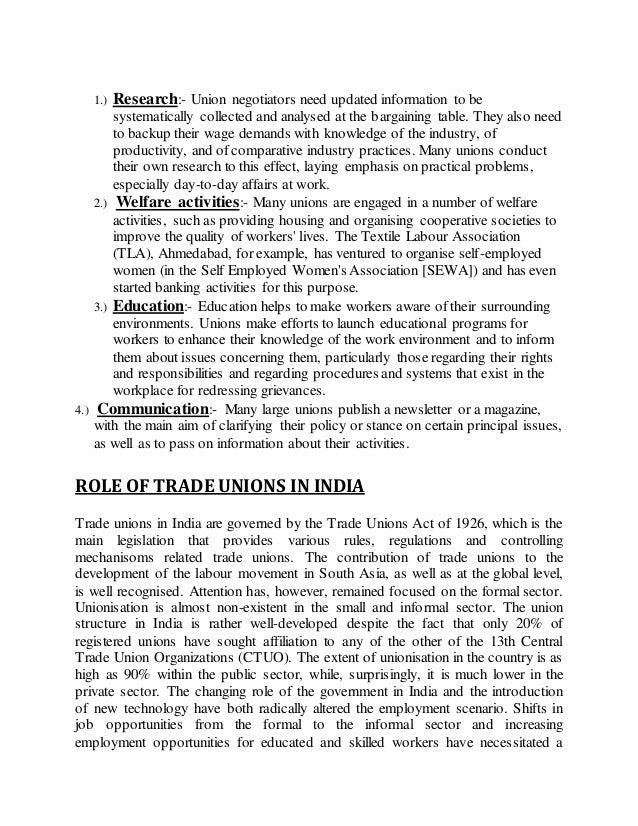 the changing roles of trade unions The changing roles of management and unions within the employment relationship introduction over the last three decades the employment relationship has undergone a shift from a collective orientation an individual one.