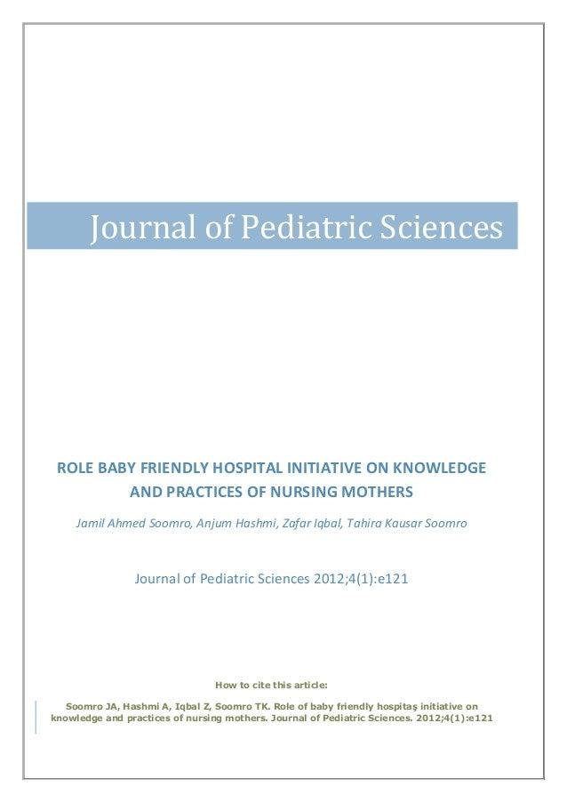 Role baby friendly hospital initiative on KAP of nursing mothers
