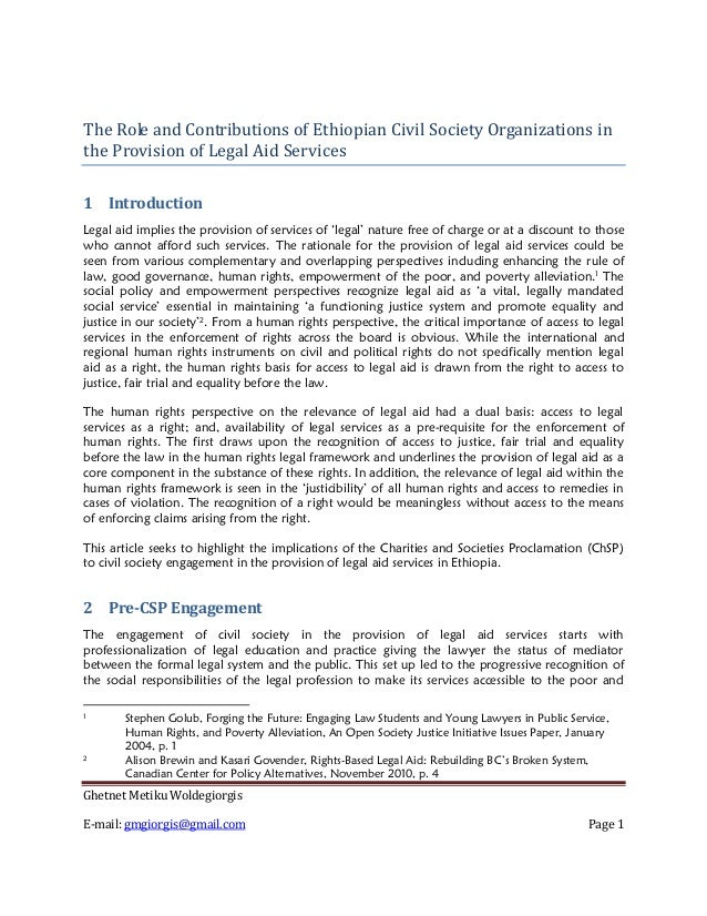 The Role and Contributions of Ethiopian Civil Society Organizations inthe Provision of Legal Aid Services1 IntroductionLeg...