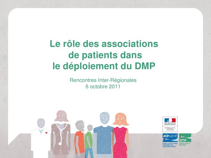 Le rôle des associations     de patients dans le déploiement du DMP    Rencontres Inter-Régionales         6 octobre 2011