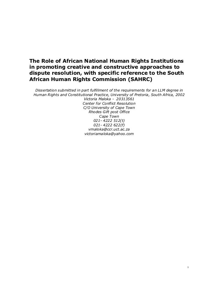 The Role of African National Human Rights Institutionsin promoting creative and constructive approaches todispute resoluti...