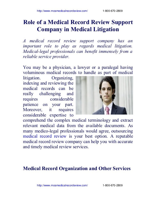 http://www.mosmedicalrecordeview.com/                   1­800­670­2809  Role of a Medical Record Review ...