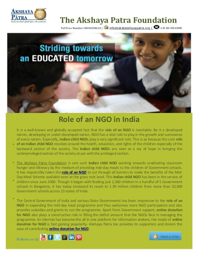 It is a well-known and globally accepted fact that the role of an NGO is inevitable. Be it a developed nation, developing ...