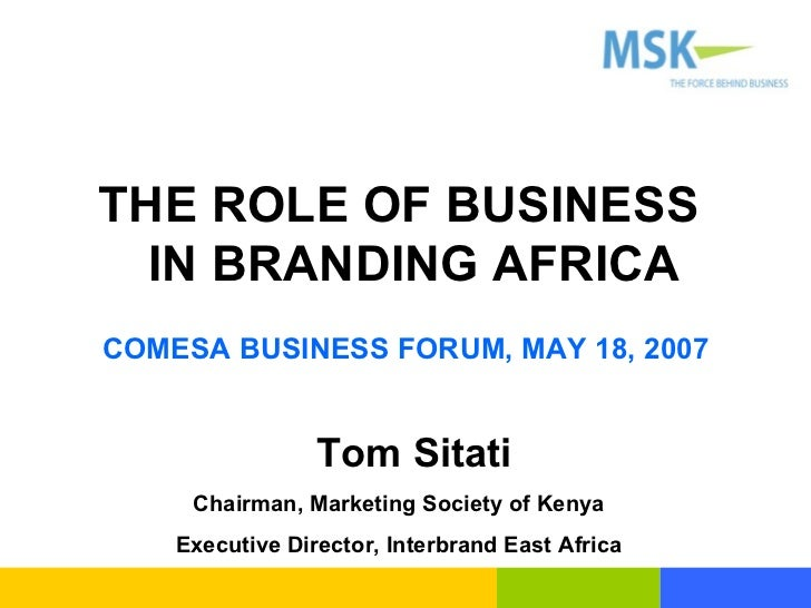 Role Of Business In Branding Africa With Notes