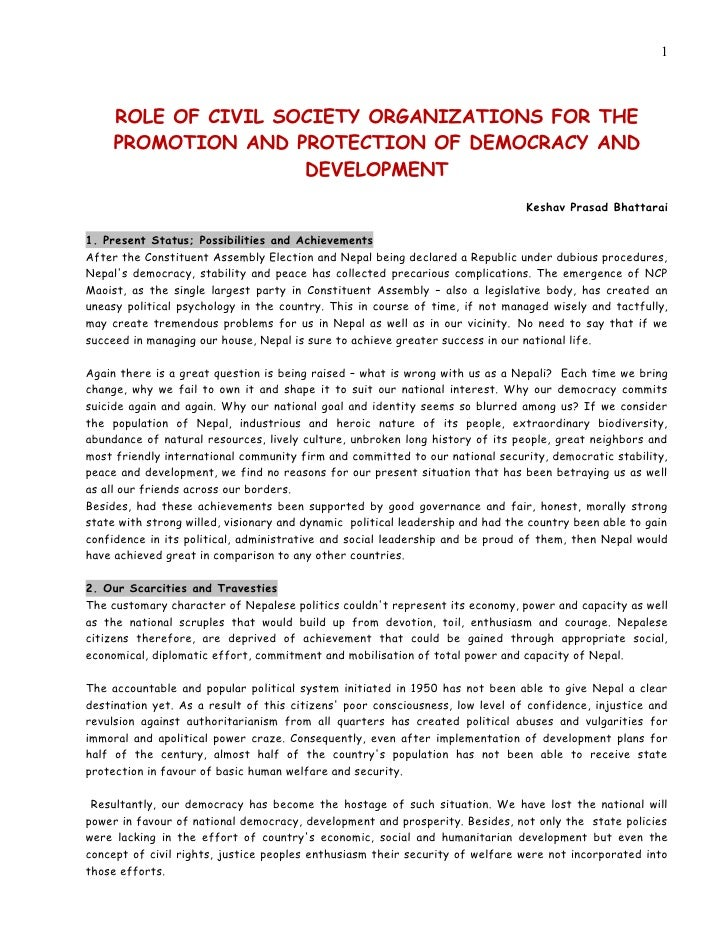 1     ROLE OF CIVIL SOCIETY ORGANIZATIONS FOR THE     PROMOTION AND PROTECTION OF DEMOCRACY AND                     DEVELO...