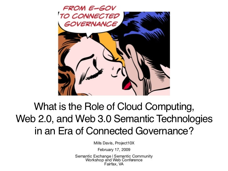 What is the role of cloud computing, web 2.0, and web 3.0 semantic technologies in the coming era of transparent, collaborative, connected e-governance?