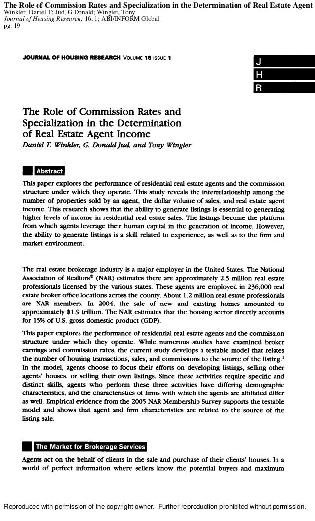 The Role of Commission Rates and Specialization in the Determination of Real Estate Agent IWinkler, Daniel T; Jud, G Donal...