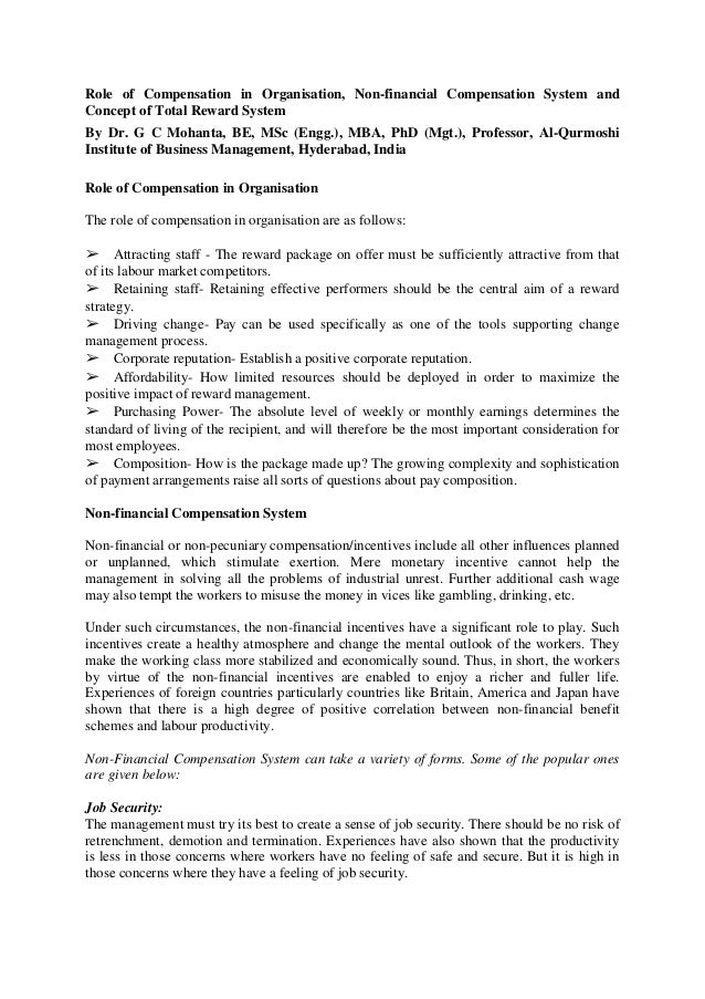 Role of Compensation in Organisation, Non-financial Compensation System and Concept of Total Reward System By Dr. G C Moha...