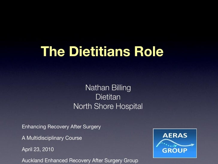 Role Of Dietitian In Enhancing Recovery After Surgery