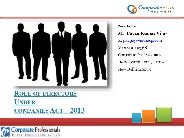 Role of Directors under Companies Act 2013