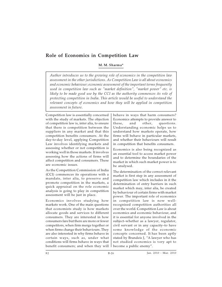 Role Of Economics In Competition Law