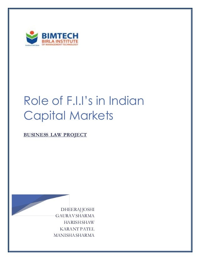 role of institutional investors in indian A study on the role of foreign institutional investors fii's in the a study on the role of foreign institutional investors fii's in the indian capital market.