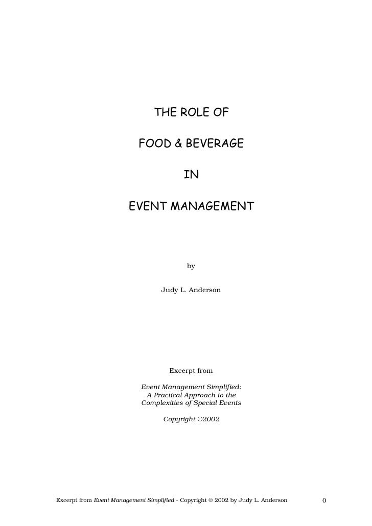 Role Of Food & Beverages In Events