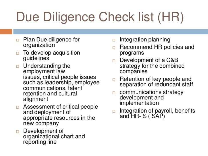 due diligence check list