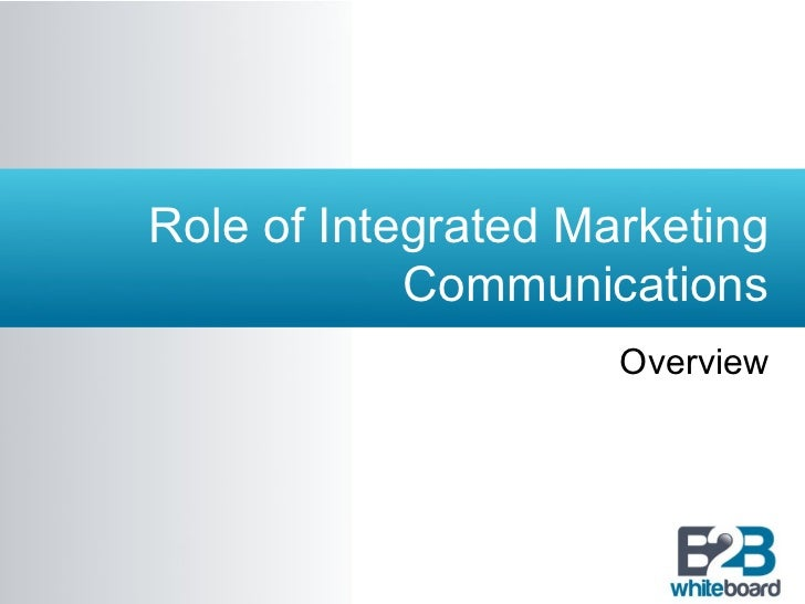 Role of Integrated Marketing            Communications                     Overview