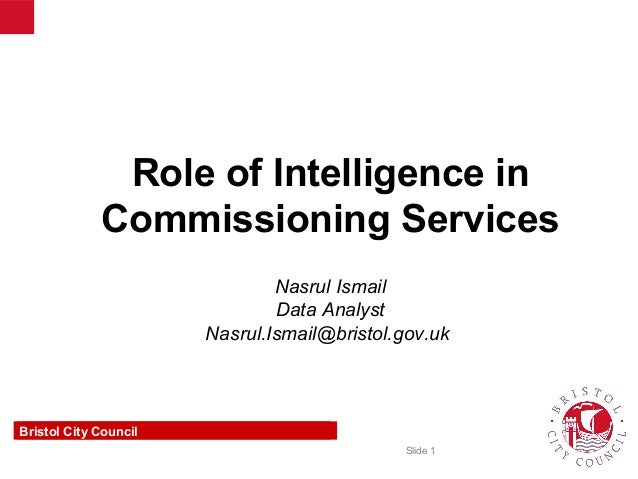 Role of Intelligence in Commissioning Services (Presentation at Bristol City Council)