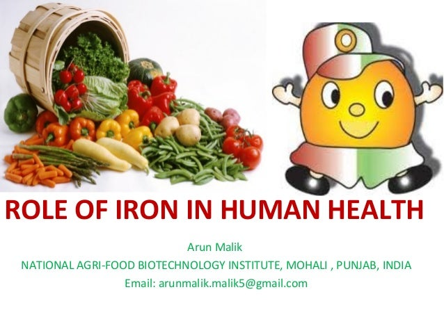 ROLE OF IRON IN HUMAN HEALTH Arun Malik NATIONAL AGRI-FOOD BIOTECHNOLOGY INSTITUTE, MOHALI , PUNJAB, INDIA Email: arunmali...